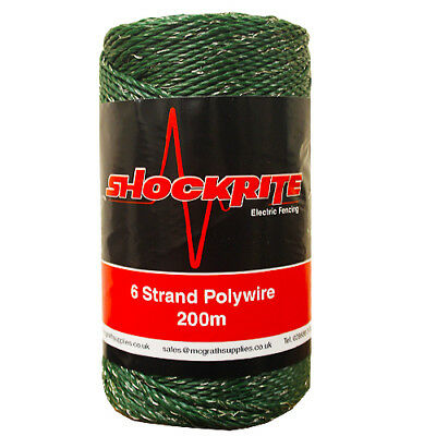 Electric Fence Fencing ShockRite Poly Wire 200m Green