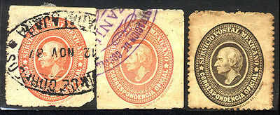 1884 MEXICO SET OF 3 USED OFFICIAL STAMPS (Michel # IaA,IcA)