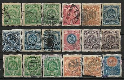 1899,1903 MEXICO SET OF 18 USED STAMPS (Michel # 226-229,232,236,237,239,240)