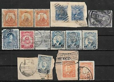 1910-1927 MEXICO 15 USED STAMPS (Michel #246,433,434,505.541a,549,543I,550I,596)