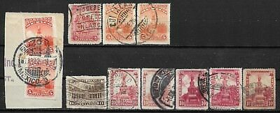 1923-24 MEXICO SET OF 11 USED STAMPS (Michel # 566,580x,584xa,585x)