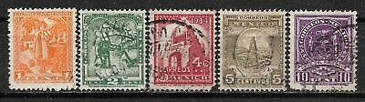 1937 MEXICO COMPLETE SET OF 5 USED STAMPS (Michel # 735-739)