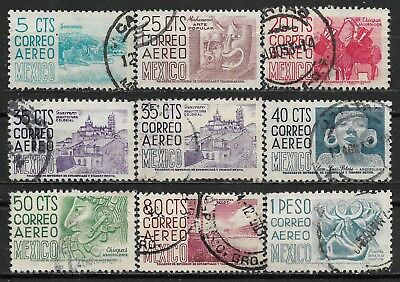 1950 MEXICO SET OF 9 USED STAMPS (Michel # 979,981,982,984-988)