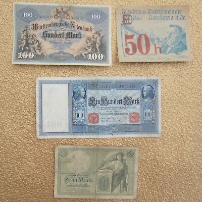 Lot of Four (4) German Banknotes Bills 1906-1920