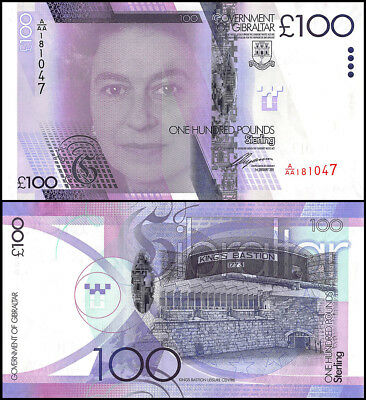 Gibraltar 100 Pounds Banknote, 2011, P-39, UNC, Queen Elizabeth II,Kings Bastion