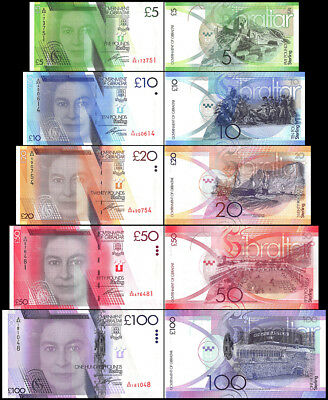 Gibraltar 5 - 100 Pounds 5 Pieces - PCS Full Set, P-35-39, 2010-2011, UNC, QE II