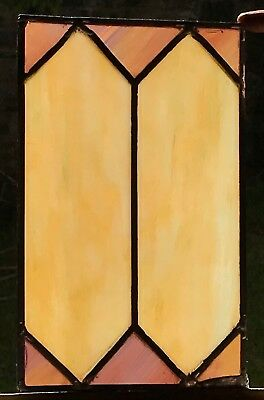 Architectural Salvage Leaded Stained Glass- Cream and Light Violet