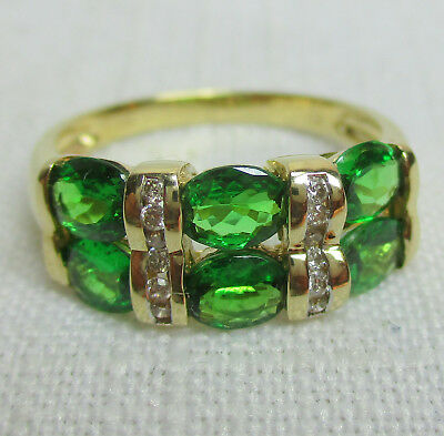Vintage Estate 14K Gold Chrome Diopside and Diamond Ring - Size 8