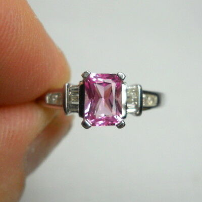 Vintage Estate PINK TOURMALINE and DIAMOND Solid 14K White Gold Ring - Size 9.5