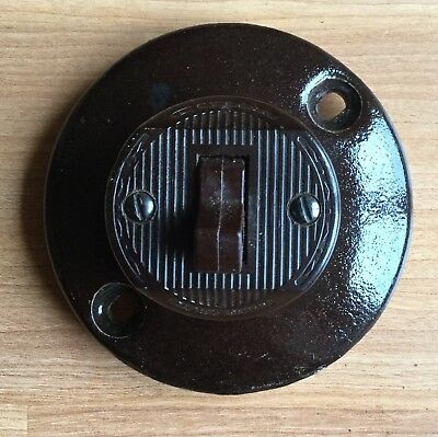 Old Vtg Antique Porcelain Bakelite Lebiton Light Switch Brown Round Frame Mount