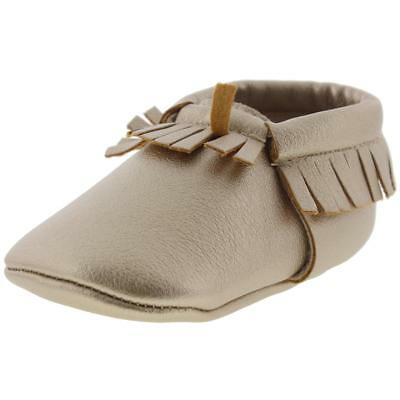 Romirus Gold Fringe Suede Moccasin Slippers 1 Medium (B,M) Infant BHFO 8001