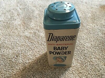 Vintage 9 Oz. Diaparene Baby Powder Tin with Contents D5437