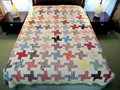 "Vintage Antique Hand Sewn Feed Sack Cotton ILLINOIS ROADS Quilt; 88"" x 72"" Good!"