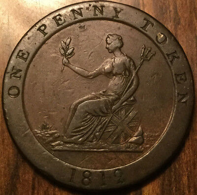 1812 Uk Gb Great Britain Hobson And Sons Button Manufacturer One Penny Token