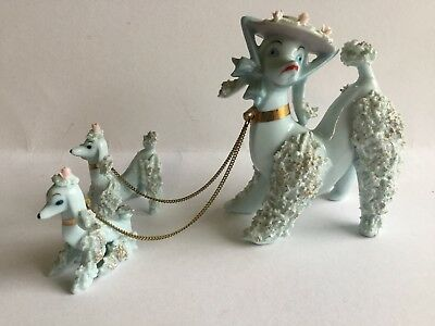 Vintage Blue Spaghetti Poodles Mom And 2 Babies With Chains