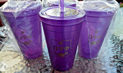 Omega Psi Phi 16oz: 4 PACK:Double Wall Plastic Tumbler w/ Straw: Purple & Gold: