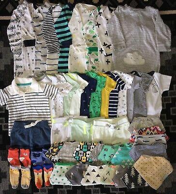 Baby Boys' Lot of 48 Pieces, 6-9 Months Adorable Infant Clothes, Carter's, etc.