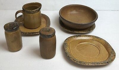 Vintage McCoy Pottery Stoneware Brown Canyon Mesa 7 Pieces Bowl, Saucer, Shake