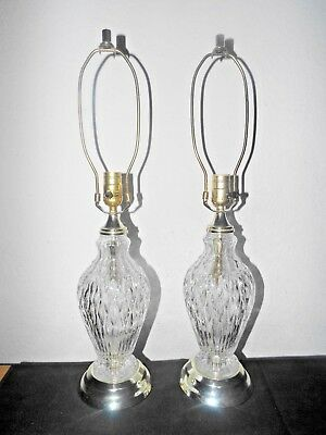 "Lamps A Pair Of Vintage 26""h High-End Fancy 3-Way Crystal Glass Table Lamps"