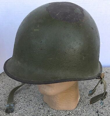 WWII US Army M1C Paratrooper Helmet Swivel Bail Front Seam Named Several Coats