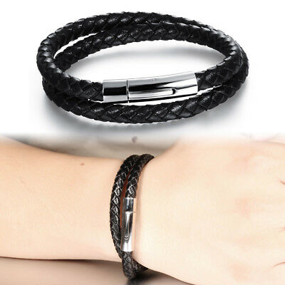 Men Black Braided Leather Bracelets Stainless Steel Clasp Multi-layer Rope Chain