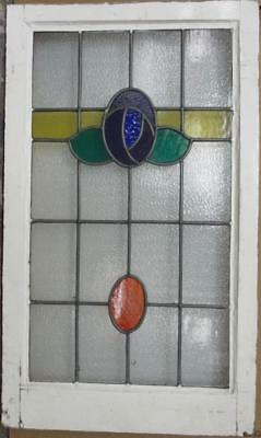 "MID SIZED OLD ENGLISH LEADED STAINED GLASS WINDOW Pretty Floral Drop 19"" x 32"""
