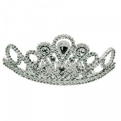 Comb-In Princess Tiara Mini Crown Queen Costume Royalty Fancy Dress Silver NEW
