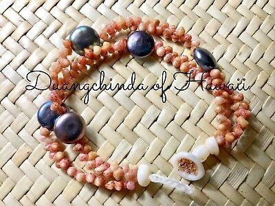 7 1/2 inches long, kahelelani shell 2 strands bracelet with freshwater pearl