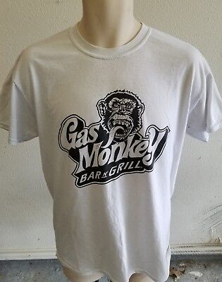 Gas Monkey Garage Bar And Grill White Mens Dry Blend Tee Shirt Size Medium