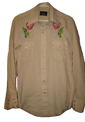 """VINTAGE """"CHAMPION"""" EMBROIDERED WESTERN Pearl Snaps ROCKABILLY SHIRT Mens L Large"""