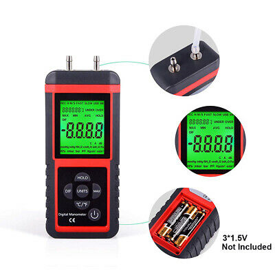 2 Pipes Differential Measure Tester Guage, Air Pressure Meter Digital Manometer