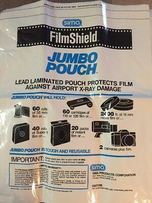 Vintage Sima Filmshield Protective X-Ray Air Travel Photographic Pouch JUMBO