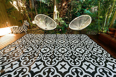 200x270cm Lisboa Black/White Outdoor/Indoor Plastic Rug/Mat Waterproof