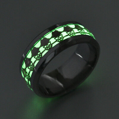 Men Finger Fluorescent Glowing Magic Personalized Fashion Stainless Steel Ring