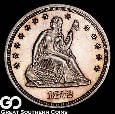 1872 Seated Liberty Quarter PROOF, Very Nice Gem PF++, Only 950 PR Made!