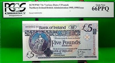 MONEY NORTHERN IRELAND 5 POUND BRITISH ADMINISTRATION 1995  GEM UNC PICK #74c