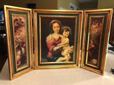 "Huge Gold Framed Italian Table Alter Madonna Jesus Triptych 19.5"" x 31"""