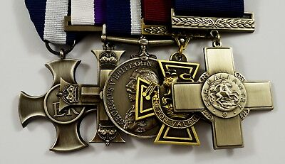 Set of 5 World War 1&2 Service Medals with Ribbons. Victoria, Gallantry Cross