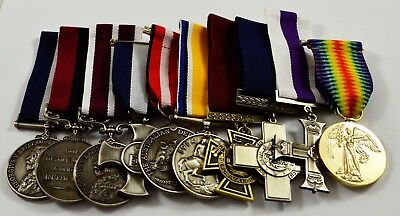 Collection of 10 World War 1&2 Service Medals with Ribbons. Highest Decorations