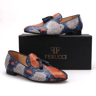 FERUCCI Snake Pattern  Slippers loafers with black Leather Tassel