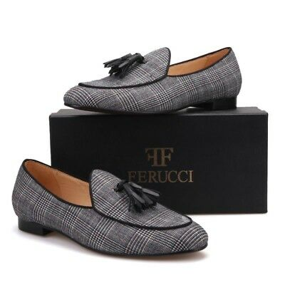 FERUCCI Black striped Fabric Slippers loafers with black Tassel