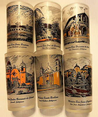 Vintage California Missions Drinking Glasses, set of 6