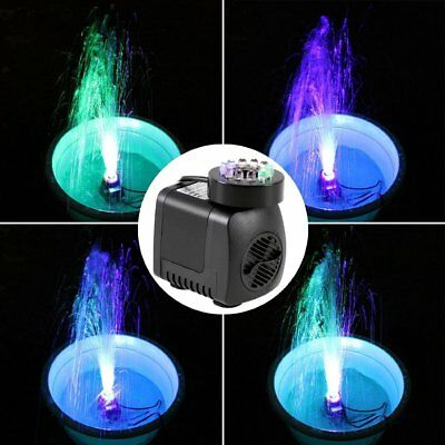 LED Light Submersible Water Pump Aquariums KOI Fish Pond Fountain Home Waterfall