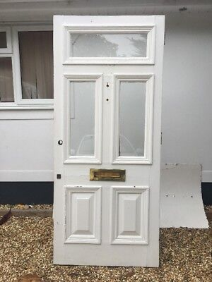 Large Victorian Front Door Period Old Reclaimed Antique Pine Wooden Glass London
