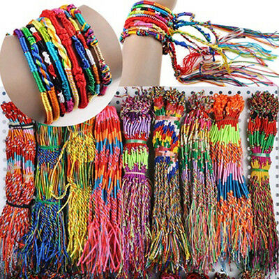 20 Pcs Multicolor Braid Strands Bracelets Friendship Cords Handmade Bracelet C