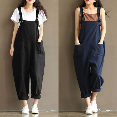 UK Womens Oversized Dungaree Jumpsuits Overalls Loose Harem Pants Trousers Baggy