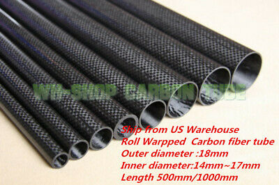 3K Carbon Fiber Tube OD 18mm X ID 16mm Roll Wrapped Suit for. RC Plane, Model H