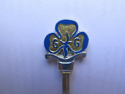 GIRL GUIDES MOTIF HAND PAINTED EPNS SILVER SPOON MADE in ENGLAND