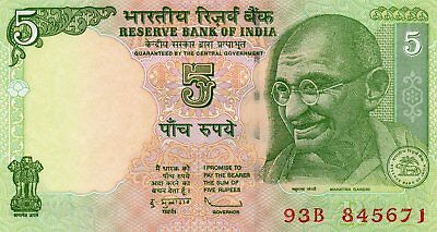 INDIA 5 Rupees 2010 P88Ag Letter R UNC Banknote