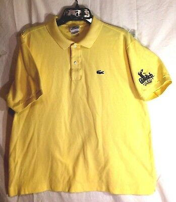 Glenfiddich Whisky Embroidered Promotional Lacoste Yellow Shirt Mens Size 6 (L)